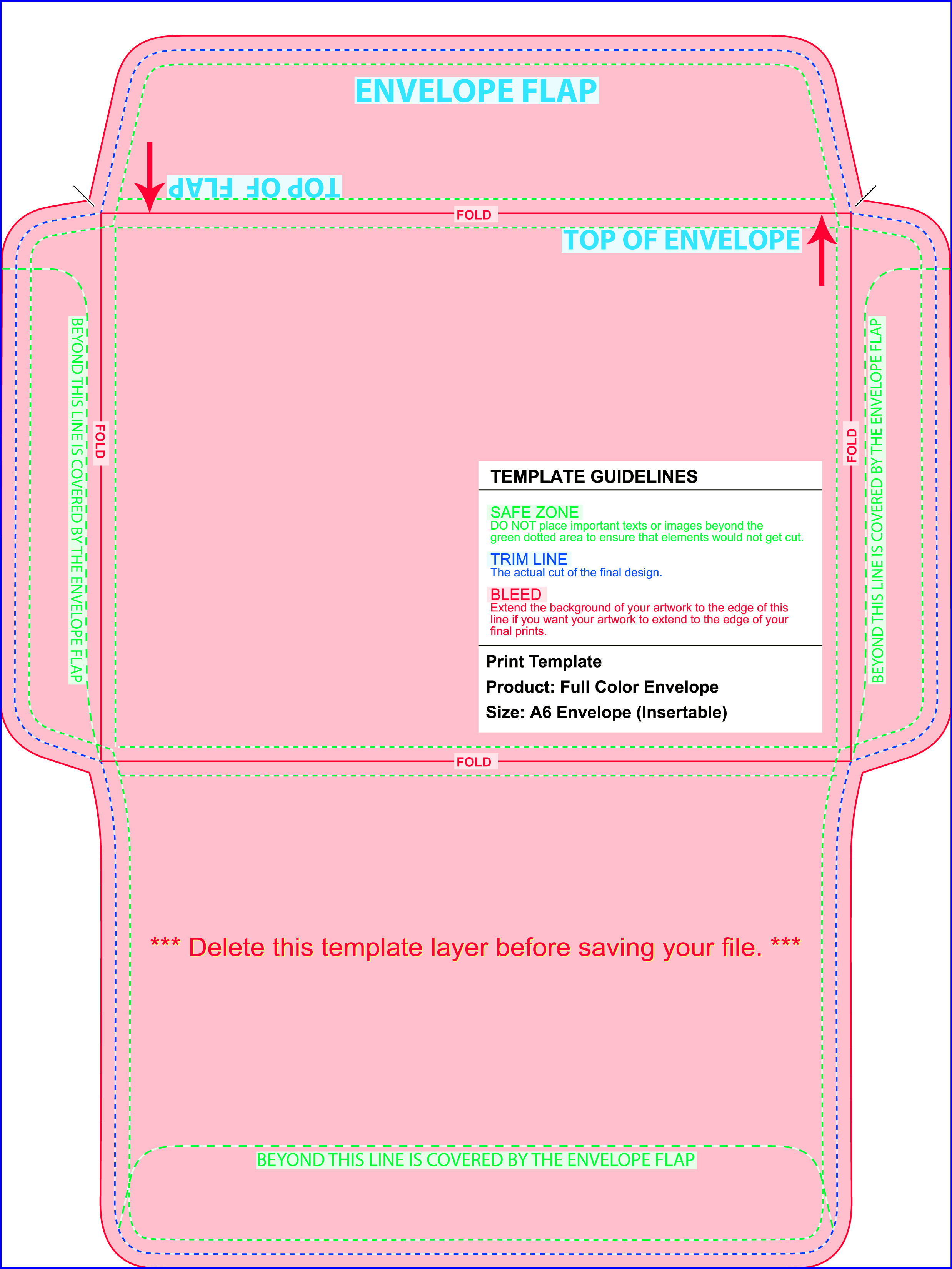 A Envelope Printing Color And FullColor NextDayFlyers - A6 envelope printing template